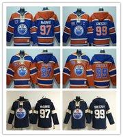 chandails à capuchon de hockey wayne gretzky achat en gros de-Chandails à capuchon brodés pour hommes Edmonton Oilers # 99 Wayne Gretzky Chandails à capuchon de hockey bleus / orange / bleu marine personnalisés