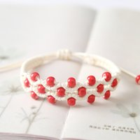 Wholesale fresh resin beads for sale - Group buy Glazed porcelain beads knitting couple bracelet small fresh literary national wind FB484 mix order pieces a Slap Snap Bracelets