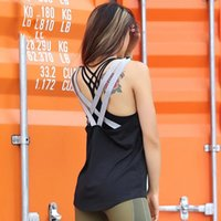 Fitness Backless Cross sport t-shirt donna traspirante senza maniche loose yoga camicia palestra abiti corsa vestito sportivo Yoga Tops