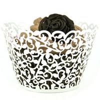 Wholesale Cheap Decorative Paper - Wholesale- 48pcs lot Cheap White Laser Cut Lace Cupcake Wrappers Wedding Cake Decoration Vintage Party Decorative Paper Supplies Tool JJ531