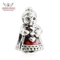 Wholesale Silver Beads For Clothes - Memnon Jewelry 2016 Winter New 925 Sterling Silver Red Clothes Mrs Santa Claus Charm Beads For DIY Jewelry Making Best Christmas Gifts BE427
