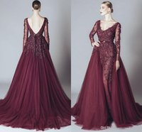 Wholesale Celebrity Inspired Dresses Elie Saab - Elegant Backless Burgundy Lace Formal Celebrity Evening Dresses V Neck Long Sleeves 2017 Elie Saab Middle East Arabic Prom Party Gowns Cheap