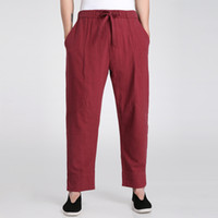 Wholesale Tai Chi Cotton Pants - Wholesale- Burgundy Traditional Chinese Men's Kung Fu Trousers Cotton Linen Tai Chi Pants Wu Shu Clothing S M L XL XXL XXXL 2601-2