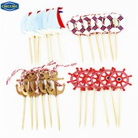 Wholesale Ring Cupcakes - Wholesale- [CHICCHIC] Mediterranean Style Anchor Rudder Swim Ring 24pcs a Set Cupcake Toppers Fruit Picks Decoration with Toothpicks QH0024