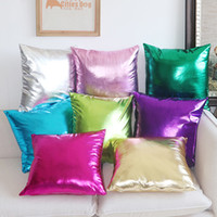 Wholesale New Sofa Leather - New Free shipping PU leather Home Decorative Glossy Cushion Cover Sofa Solid color Throw Pillow Case Chair Car Pillowcase #3063