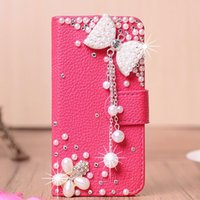 Wholesale Iphone 4s Cases Pearl - For iphone 7 7plus 6s 6splus 5s 4s 6 6plus phone case Pearl Rhinestone mobile phone TPU leather case Cell phone flip top