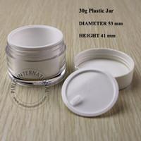 acryl-kosmetik-gläser für cremes großhandel-30g leere Acryl kosmetische Gläser Creme Verpackung Kunststoff Glas und Deckel für Gesichtsmaske Gesicht Hand Creme Probe Container Pot Box