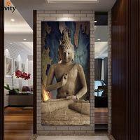 Wholesale wall art buddha painting resale online - window buddha art canvas Wall art buddha Picture landscape Canvas painting Modern living room Decorative