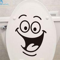 Wholesale Fridge Wash - Wholesale- OnnPnnQ Smile face Toilet stickers diy personalized furniture decoration wall decals fridge washing machine sticker Bathroom Car