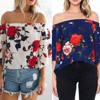 Wholesale Womens Floral Print T Shirt - Ladies Summer Loose Chiffon Casual Floral Print Loose Off the Shoulder Tops Womens Sexy Slash Neck Blouse T-Shirt Shirt Tee Jumper