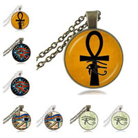 Wholesale Ward Off Evil - Ancient Eye of Horus Ra Ankh Necklace Cross of Life Pendant God Egypt Amulet Necklace Ward off Evil Spirit Mummy Egyptian Collection Jewelry