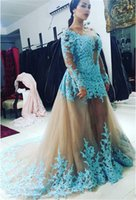 Wholesale Showing Back Prom Dress - New Arrivals Real Customer Show Plus Size Evening Prom Dresses with Long Sleeves Blue Lace Appliques Arabic Women Evening Gowns