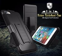 Wholesale Military Duty Hybrid Iphone - For iPhone 7 Case Military Hybrid Black Armor Phone Cases For iPhone 6 7 6S Plus 5S SE Cover Heavy Duty Kickstand Coque free shipping