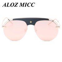 Wholesale Vintage Half Frame Sunglasses Wholesale - ALOZ MICC Women Oversized Semi- Rimless Sunglasses Men Brand Designer Vintage Unique Personality Sun Glasses Luxury Eyewear UV400 A074