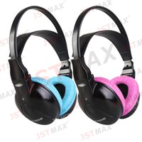 Wholesale Wireless Headphones Ir - Wholesale-Dual Channel Wireless IR Headphones for Car Headrest DVD & TV & PC & MP3 for Children with Pink Color