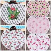 Wholesale Black Hippy - 2017 New Round Beach Towel Printed Tapestry Hippy Tassels Tablecloth Serviette Covers Beaches Shawl Wrap Flamingo Soft Feel 32jm J R
