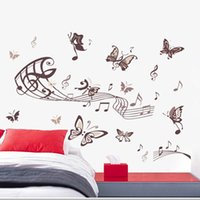 Wholesale paper music notes - 5090-D Creative Home Decor Butterfly Music Note Wall Stickers Removable PVC Wall Art Decoration Music Wall Decals Home Decor