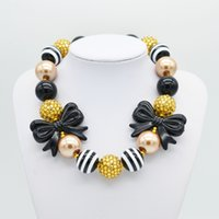 Wholesale Children Bubble Necklaces - Princess Bubble Gum Beads Necklaces Kid Girls Black Bow Chunky Beaded Necklace 2016 New Fashion Children Costume Jewelry