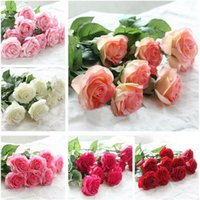 Wholesale Silk Wedding Bridesmaid Bouquets - Rose Artificial Flowers Silk Flowers Floral Latex Real Touch Rose Wedding Bouquet Home decor Party Flowers bridesmaid G282