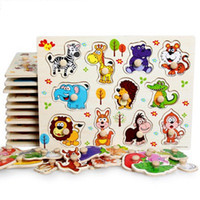 Wholesale Educational Letters - Zoo animals wooden puzzles for children 2-4 years old 3d puzzle jigsaw board educational toys for kids learning games fun letter