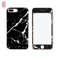 Wholesale Soft Bags For Glasses - Marble Case Soft TPU Cover with Tempered Glass Screen Protector for iPhone 7 6s 6 plus Opp Bag
