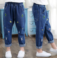 Wholesale 4t Girls Skinny Jeans - In the spring of 2017 new hot style girls bee on children's clothing embroidery jeans Han edition of the child process of jeans