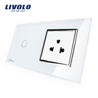 Wholesale Light Switches Wall Sockets - LS- Livolo Touch Switch&US Socket, White Crystal Glass Panel, 110~250V 13A US Wall Socket with Light Switch, VL-C701-11 VL-C7C1US-11