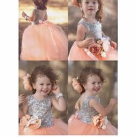 Wholesale little girls t shirts - Backless Sequin Lace Custom Cute Little Flower Girl Dress Floor Length Hand Made Flowers Bows Kids Prom Birthday Dress Cheap 53