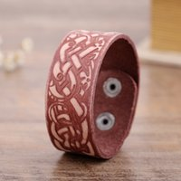 Wholesale Masculine Gifts - B&C Leather Bracelets Vintage Dragon Knot Wristbands Pulseira Masculine Viking Geniune Fashion Leather Bangles For Men and Women