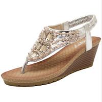 Wholesale Gold T Strap Wedge - Summer Style Gladiator Sandals Women Platform Sandal Wedges Gold Flip Flops 2017 Summer Shoes Woman Bohemian Rhinestone Slippers