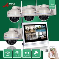 Wholesale Wireless Dome Ip - ANRAN Plug and Play CCTV P2P 4CH NVR 12 Inch LCD Monitor Vandal-Proof Dome Outdoor 30 IR 1080P IP Wireless WIFI Camera Security System Kits