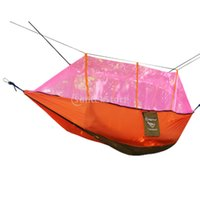 Wholesale Double Tent Mosquito - Wholesale- 1Pc Double Hammock Tree 2 Person Patio Bed Swing Outdoor Outdoor Camping Tent with Mosquito Net