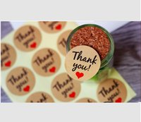Wholesale Handmade Labels - Thank you sticker Handmade with love Self-adhesive Sticker Kraft paper Baking seal Labels Gift Packaging Label Stickers Box Bag Tag C2032