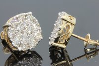 Wholesale Solid White Gold Diamond Earrings - 10K SOLID YELLOW GOLD 2 WOMENS 12 mm REAL NATURAL DIAMONDS EARRING STUDS