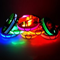 Wholesale Chain Slip - LED Nylon Dog Collar Dog Cat Harness Flashing Light Up Night Safety Pet Collars 8 Color XS-XL Size Christmas Accessories