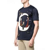 queria top venda por atacado-Concerto de Música Mafia Querido Amor Coroa Estrela Da Lua Macaco DG T-shirt Curto Homens T Shirt Tops Top Quality Roupas Preto Branco