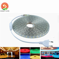 Wholesale Multicolor Led Lighting Strips - 100M 110V 220-240V High Voltage SMD 5050 Led flexible Strips lights 60leds m multicolor IP55 Waterproof 5050 Led Strip + Power Suply& Plug