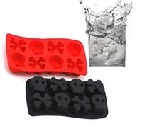 Wholesale Halloween Chocolate Molds - Halloween Skull Ice Cube Tray Fondant Molds DIY Silicone Mold Chocolate Cooking Tools Cream Mould Cupcake Tray Maker DIY KKA1582
