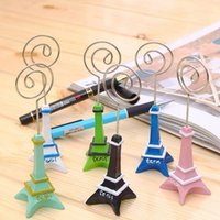 Wholesale Eiffel Holder - 100pcs wedding gift 11cm Paris Eiffel Tower Brozen Place Name photo Business Card Holder message board clip free shipping