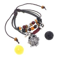 Wholesale Stone Setting Pendant - 2017 NEW Boho Beads Lava Stone Bracelets Perfume Diffuser Locket Cage Pendant Hand Chain Christmas Gift Multilayer Leather Charm Bracelet