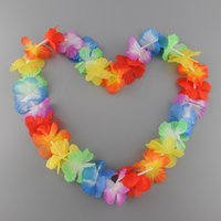Wholesale Tropical Grasses - Wholesale-easy carried comfortable 10 pcs Artificial Hawaii Tropical Hula Grass Dance Flower Necklace Garlands
