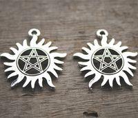 Wholesale Tibetan Silver Pentagrams - 6pcs-- supernatural pentagram Charms, Antique Tibetan Silver Tone supernatural pentagram charms pendants 39mx35m