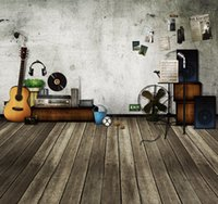 Indoor Old White Wall Fotografia Backdrops 5x7ft Gitar Equipamento de Áudio Crianças Crianças Photo Studio Background Wooden Floor