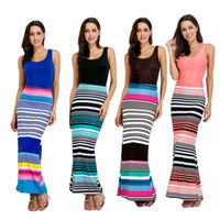 Wholesale Women S Square Neck Top - free shipping hot new sexy summer style sleeveless tops colorful striped printed ankle length maxi long dresses for mature women