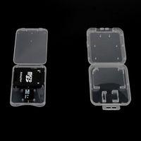 caixa de caixa de armazenamento de cartão sd venda por atacado-ePacket 3.82mm Ultra Fino Super Slim Cartão TF de Plástico + Adaptador SD Caso 2 em 1 Caixa De Armazenamento De Cartão De Memória Caso Ideal para o Correio Real