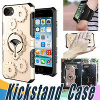 Wholesale Iphone Armband Retail Package - Metal Rotatable Kickstand Case Cover with Armband and Retail Package For iPhone X 8 7 6 6S Plus 5 5S SE Sumsung S7 S8 Plus Edge Noe 8