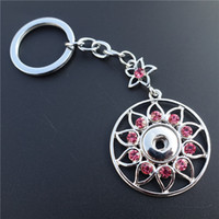Porte-clés en gros fleur Pas Cher-WhitePink Mix Smart Rhinestone Round Flower Keyrings Noosa Chunks Metal Ginger 12mm Snap Buttons Key Chains Jewelry Wholesale