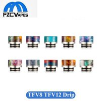 Wholesale Tips Colors - New Resin Plus Stainless Drip Tip for SMOK TFV8 TFV12 Tank Wide Bore Short Height Mouthpiece 10 Colors