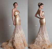 Wholesale Ostrich Feather Dressing Gown - Arab Dubai gold ostrich hair tassel mermaid wedding dresses 2017 krikor Jabotian strapless neckline sweep train bridal wedding gowns