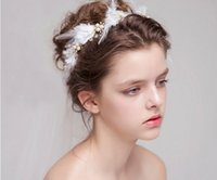 Wholesale Bride Headband Crystal - 2017 Bride headbands pearl feathers handmade jewelry wedding accessories wedding styling hair accessories for wedding party